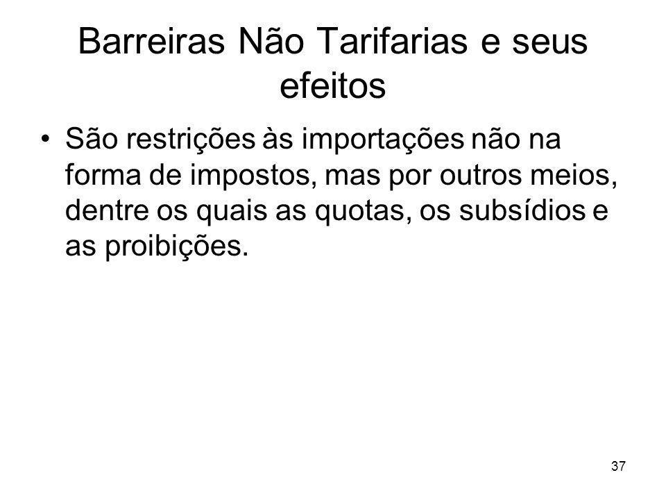 37 Barreiras Não Tarifarias e seus efeitos São restrições às importações não na forma de impostos, mas por outros meios, dentre os quais as quotas, os subsídios e as proibições.