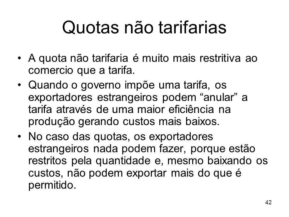 42 Quotas não tarifarias A quota não tarifaria é muito mais restritiva ao comercio que a tarifa.
