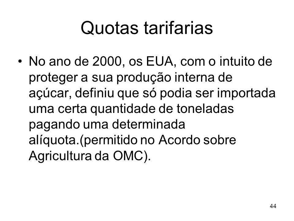 44 Quotas tarifarias No ano de 2000, os EUA, com o intuito de proteger a sua produção interna de açúcar, definiu que só podia ser importada uma certa quantidade de toneladas pagando uma determinada alíquota.(permitido no Acordo sobre Agricultura da OMC).