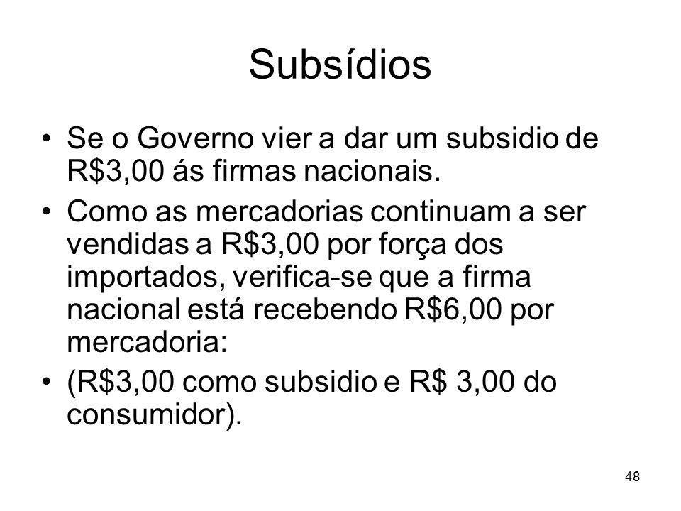 48 Subsídios Se o Governo vier a dar um subsidio de R$3,00 ás firmas nacionais.
