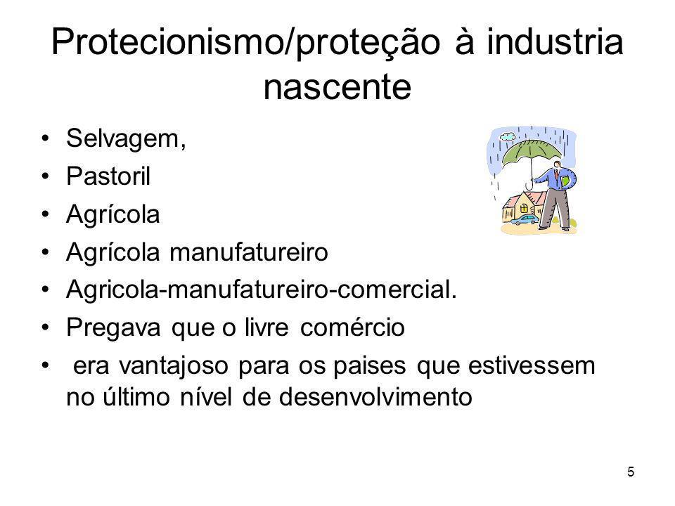 5 Protecionismo/proteção à industria nascente Selvagem, Pastoril Agrícola Agrícola manufatureiro Agricola-manufatureiro-comercial.