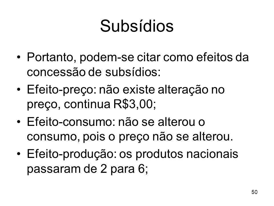 50 Subsídios Portanto, podem-se citar como efeitos da concessão de subsídios: Efeito-preço: não existe alteração no preço, continua R$3,00; Efeito-consumo: não se alterou o consumo, pois o preço não se alterou.