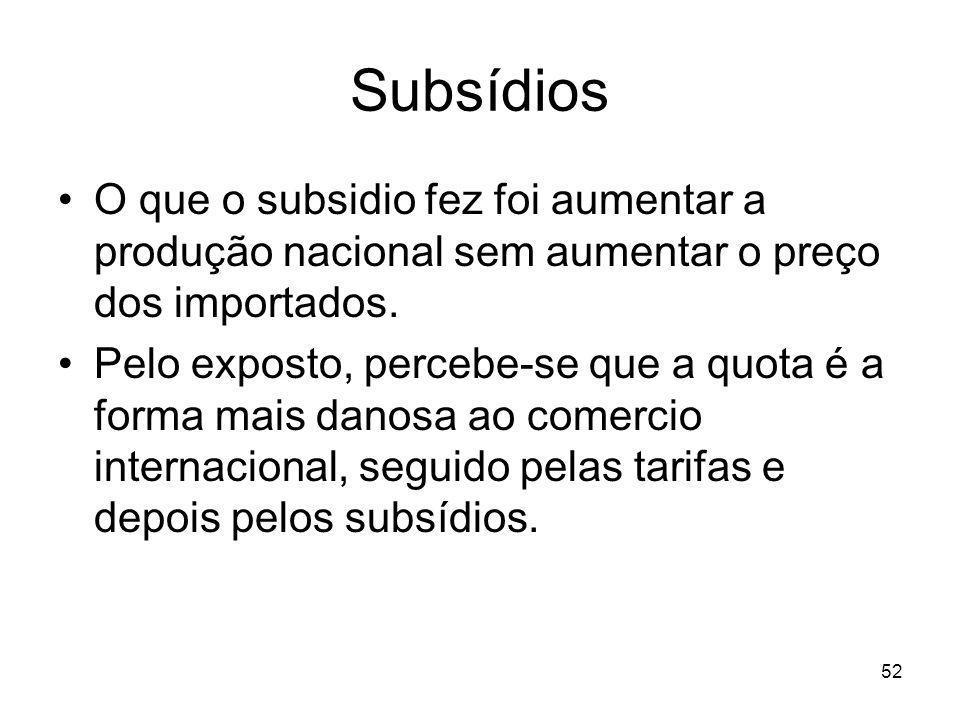 52 Subsídios O que o subsidio fez foi aumentar a produção nacional sem aumentar o preço dos importados.