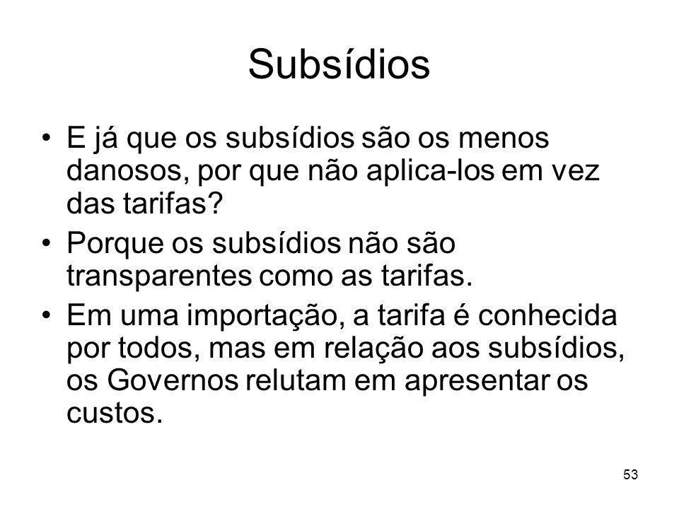 53 Subsídios E já que os subsídios são os menos danosos, por que não aplica-los em vez das tarifas.