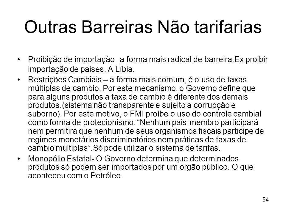 54 Outras Barreiras Não tarifarias Proibição de importação- a forma mais radical de barreira.Ex proibir importação de paises.