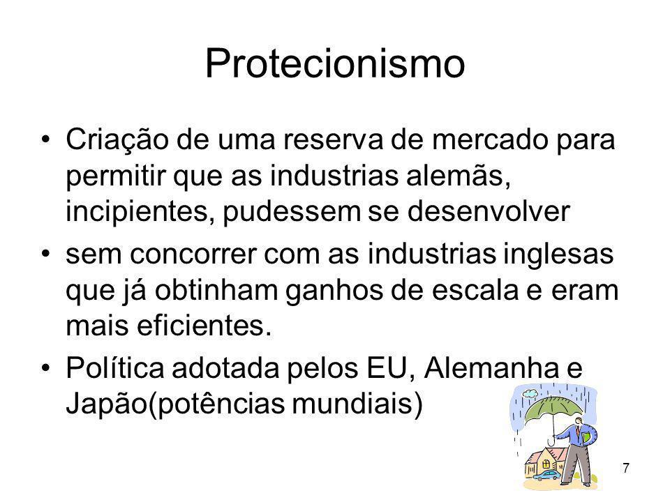 7 Protecionismo Criação de uma reserva de mercado para permitir que as industrias alemãs, incipientes, pudessem se desenvolver sem concorrer com as industrias inglesas que já obtinham ganhos de escala e eram mais eficientes.