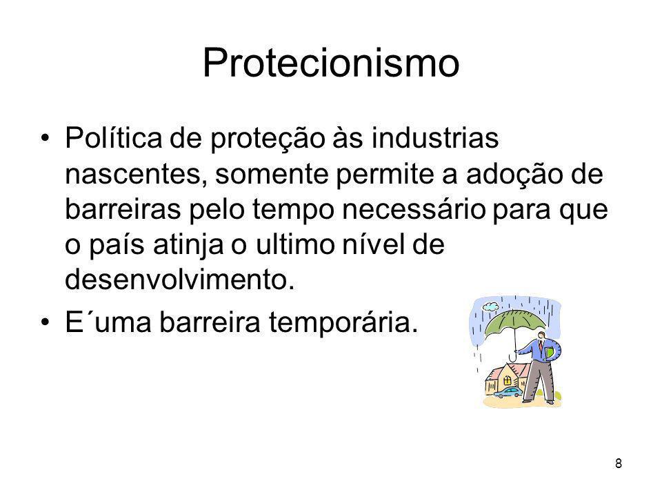 8 Protecionismo Política de proteção às industrias nascentes, somente permite a adoção de barreiras pelo tempo necessário para que o país atinja o ultimo nível de desenvolvimento.