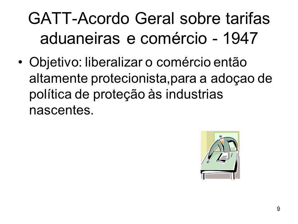 9 GATT-Acordo Geral sobre tarifas aduaneiras e comércio - 1947 Objetivo: liberalizar o comércio então altamente protecionista,para a adoçao de política de proteção às industrias nascentes.