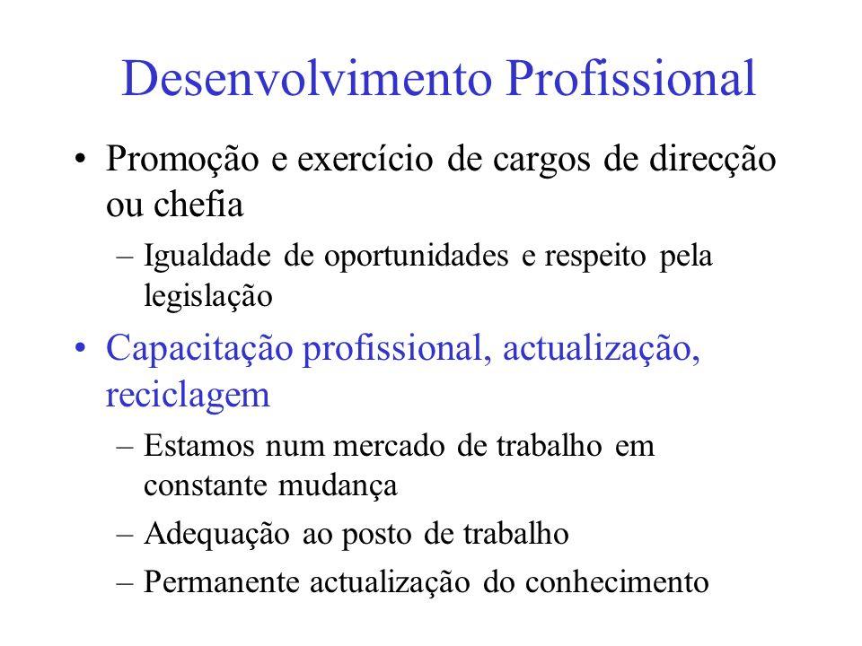 Desenvolvimento Profissional Promoção e exercício de cargos de direcção ou chefia –Igualdade de oportunidades e respeito pela legislação Capacitação p
