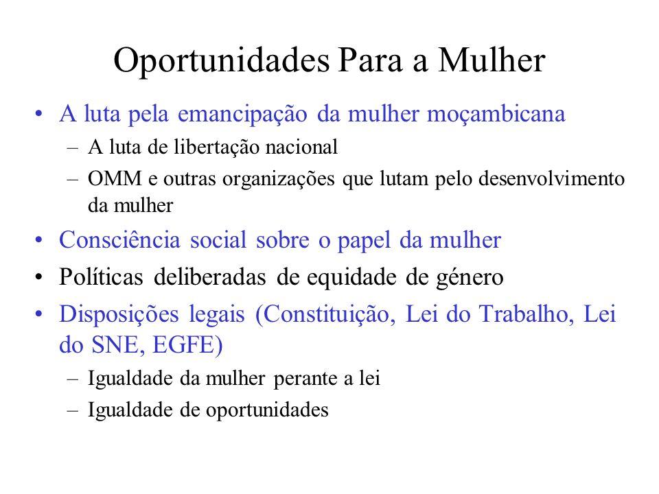 Oportunidades Para a Mulher A luta pela emancipação da mulher moçambicana –A luta de libertação nacional –OMM e outras organizações que lutam pelo des