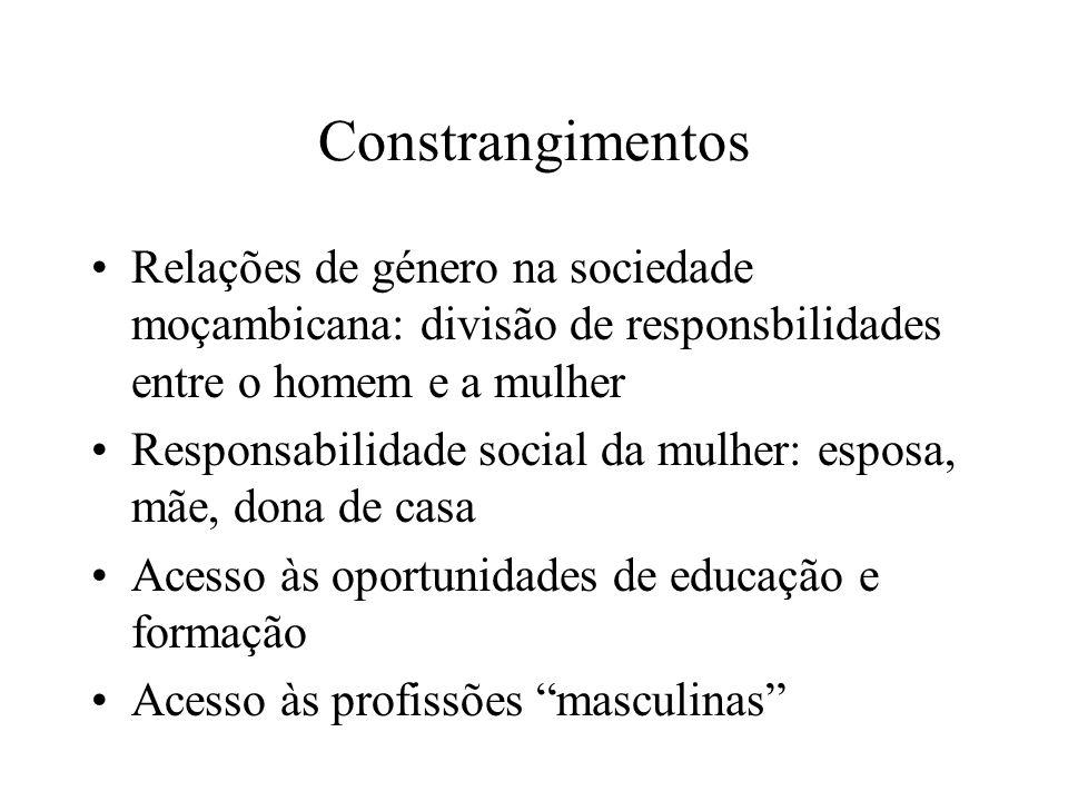 Constrangimentos Relações de género na sociedade moçambicana: divisão de responsbilidades entre o homem e a mulher Responsabilidade social da mulher: