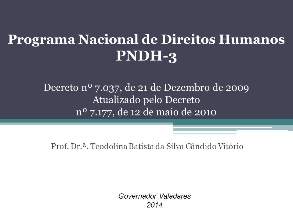 Programa Nacional de Direitos Humanos PNDH-3 Decreto nº 7.037, de 21 de Dezembro de 2009 Atualizado pelo Decreto nº 7.177, de 12 de maio de 2010 Prof.