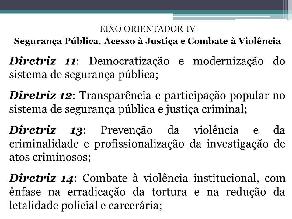 EIXO ORIENTADOR IV Segurança Pública, Acesso à Justiça e Combate à Violência Diretriz 11: Democratização e modernização do sistema de segurança públic