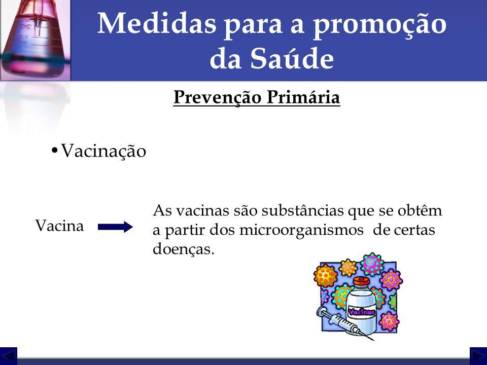 Medidas para a promoção da Saúde Prevenção Primária Vacinação Vacina As vacinas são substâncias que se obtêm a partir dos microorganismos de certas do