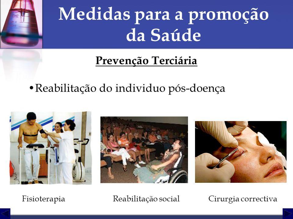 Medidas para a promoção da Saúde Prevenção Terciária Reabilitação do individuo pós-doença FisioterapiaReabilitação socialCirurgia correctiva