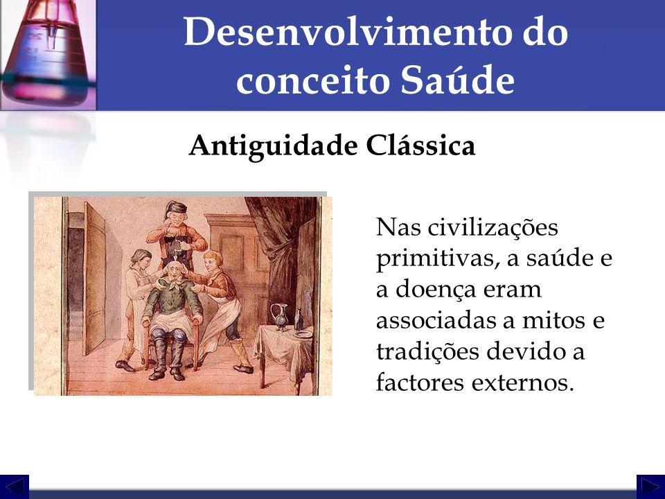 Desenvolvimento do conceito Saúde Antiguidade Clássica Nas civilizações primitivas, a saúde e a doença eram associadas a mitos e tradições devido a fa