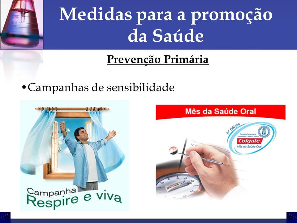 Medidas para a promoção da Saúde Prevenção Primária Campanhas de sensibilidade