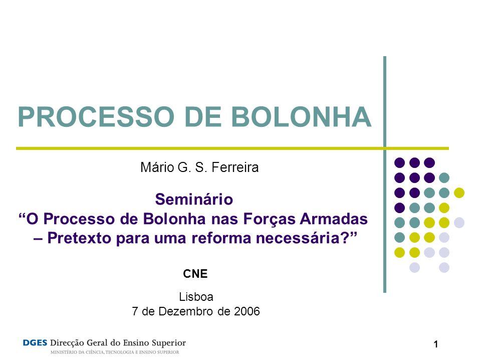 1 PROCESSO DE BOLONHA Seminário O Processo de Bolonha nas Forças Armadas – Pretexto para uma reforma necessária? CNE Lisboa 7 de Dezembro de 2006 Mári