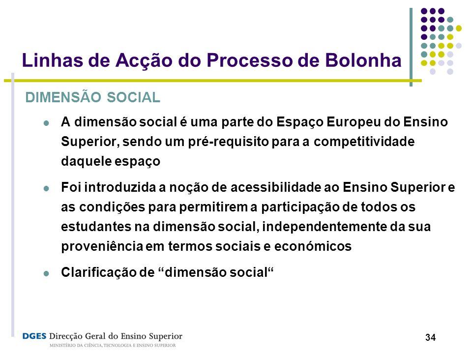34 Linhas de Acção do Processo de Bolonha DIMENSÃO SOCIAL A dimensão social é uma parte do Espaço Europeu do Ensino Superior, sendo um pré-requisito p