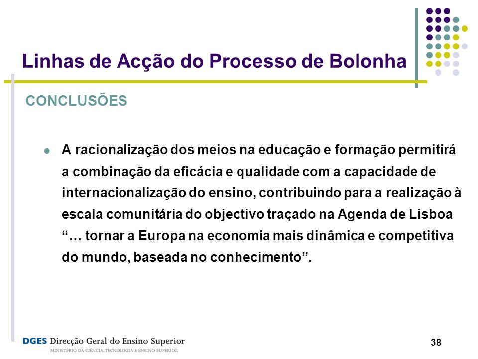 38 Linhas de Acção do Processo de Bolonha CONCLUSÕES A racionalização dos meios na educação e formação permitirá a combinação da eficácia e qualidade