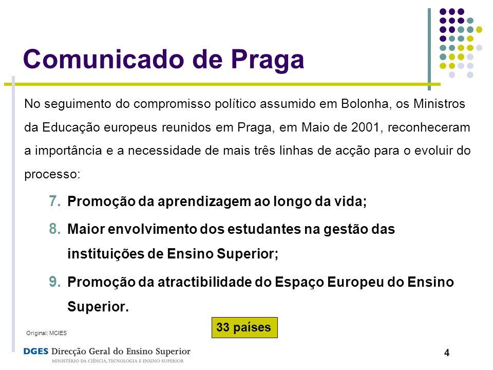 4 Comunicado de Praga No seguimento do compromisso político assumido em Bolonha, os Ministros da Educação europeus reunidos em Praga, em Maio de 2001,