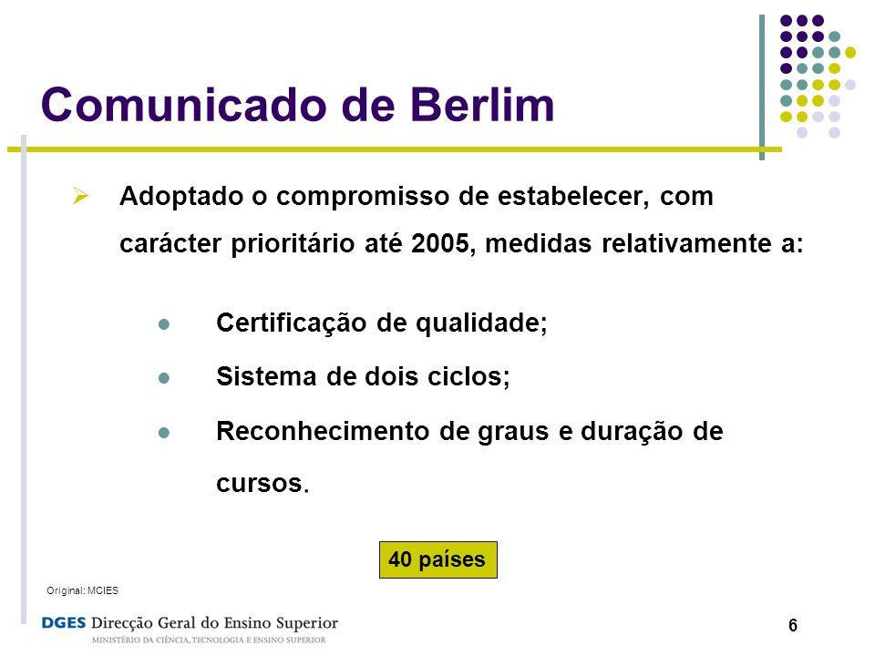 6 Comunicado de Berlim Adoptado o compromisso de estabelecer, com carácter prioritário até 2005, medidas relativamente a: Certificação de qualidade; S