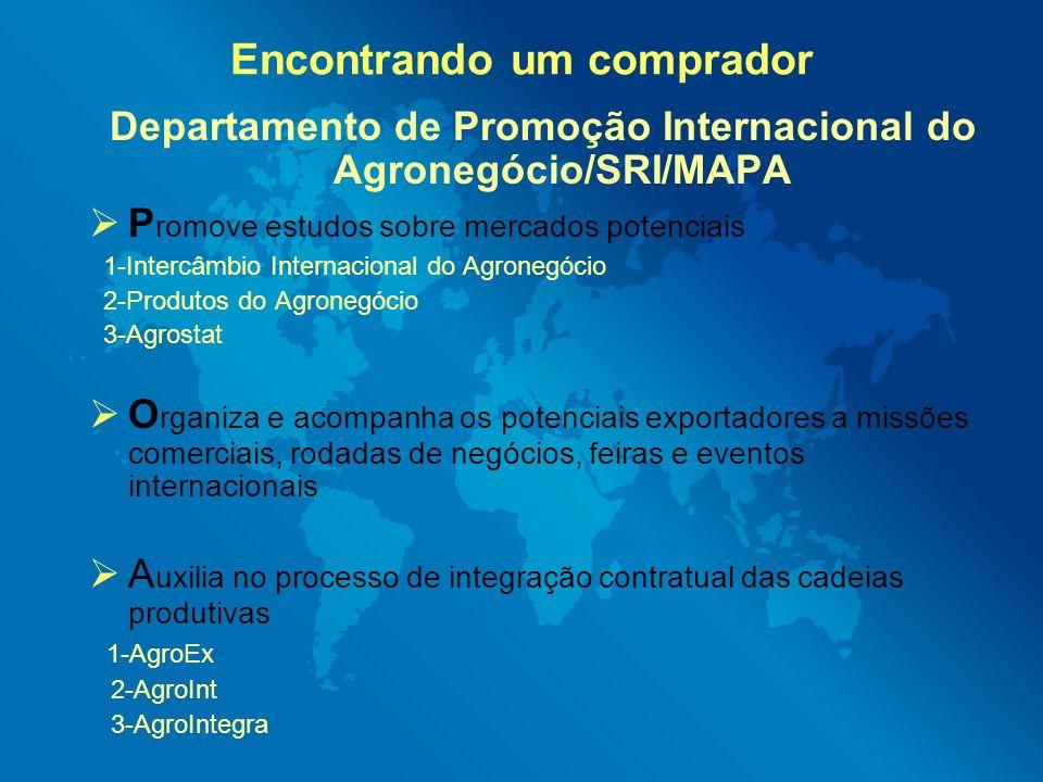 Encontrando um comprador Departamento de Promoção Internacional do Agronegócio/SRI/MAPA P romove estudos sobre mercados potenciais 1-Intercâmbio Inter