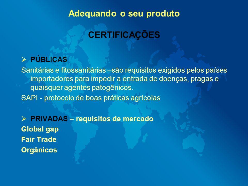 Adequando o seu produto CERTIFICAÇÕES PÚBLICAS Sanitárias e fitossanitárias –são requisitos exigidos pelos países importadores para impedir a entrada