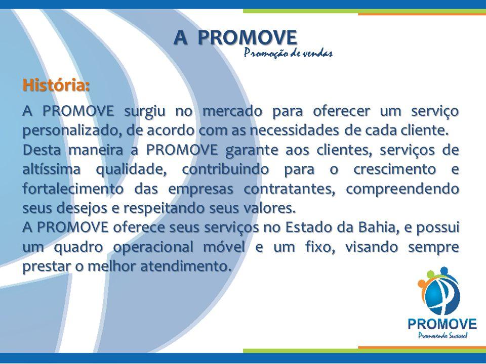 A PROMOVE História: A PROMOVE surgiu no mercado para oferecer um serviço personalizado, de acordo com as necessidades de cada cliente. Desta maneira a
