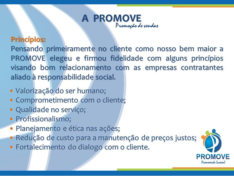 A PROMOVE Princípios: Pensando primeiramente no cliente como nosso bem maior a PROMOVE elegeu e firmou fidelidade com alguns princípios visando bom re