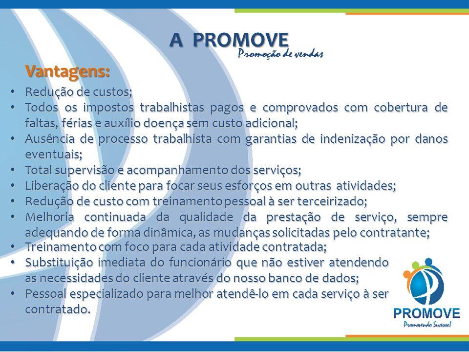 A PROMOVE A PROMOVE Vantagens: Redução de custos; Redução de custos; Todos os impostos trabalhistas pagos e comprovados com cobertura de faltas, féria