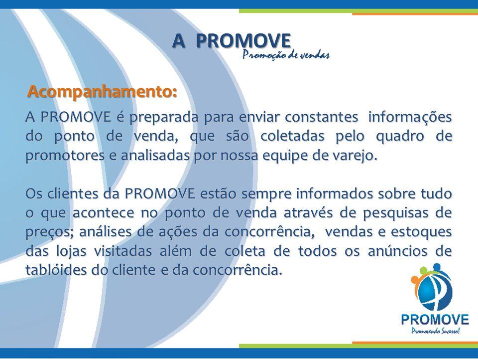 A PROMOVE Acompanhamento: A PROMOVE é preparada para enviar constantes informações do ponto de venda, que são coletadas pelo quadro de promotores e analisadas por nossa equipe de varejo.