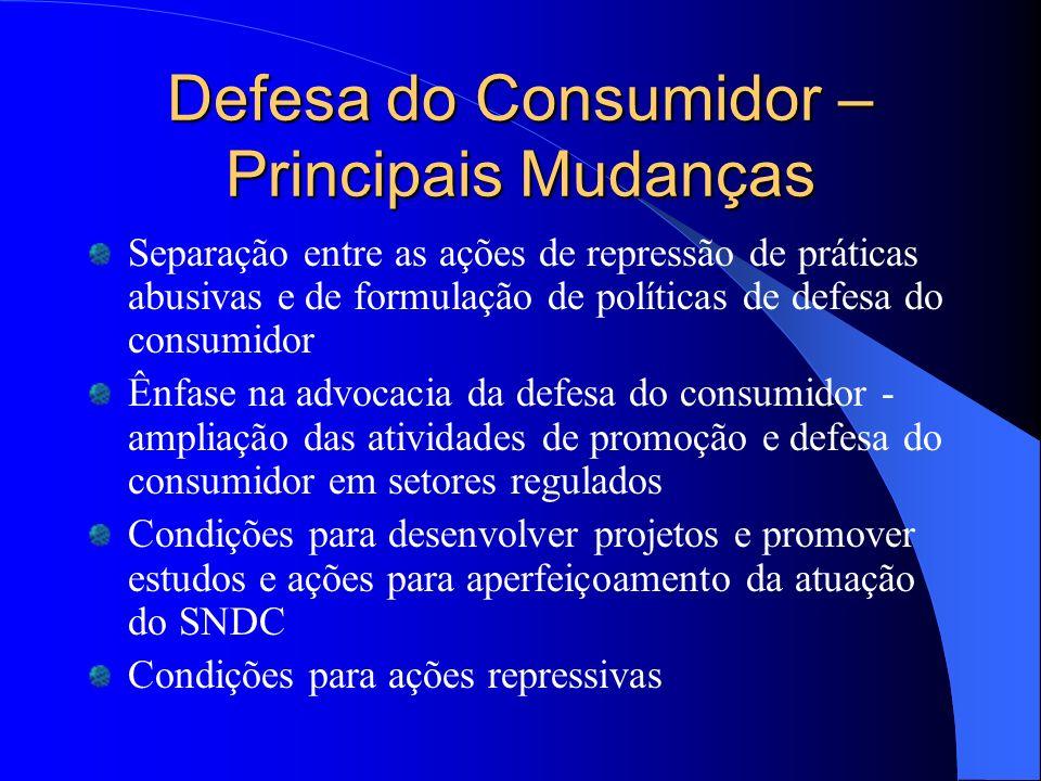 Defesa do Consumidor – Principais Mudanças Separação entre as ações de repressão de práticas abusivas e de formulação de políticas de defesa do consum