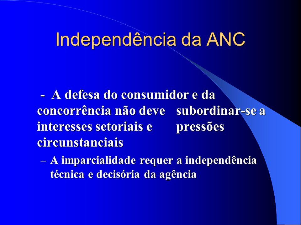 Independência da ANC - A defesa do consumidor e da concorrência não deve subordinar-se a interesses setoriais e pressões circunstanciais - A defesa do