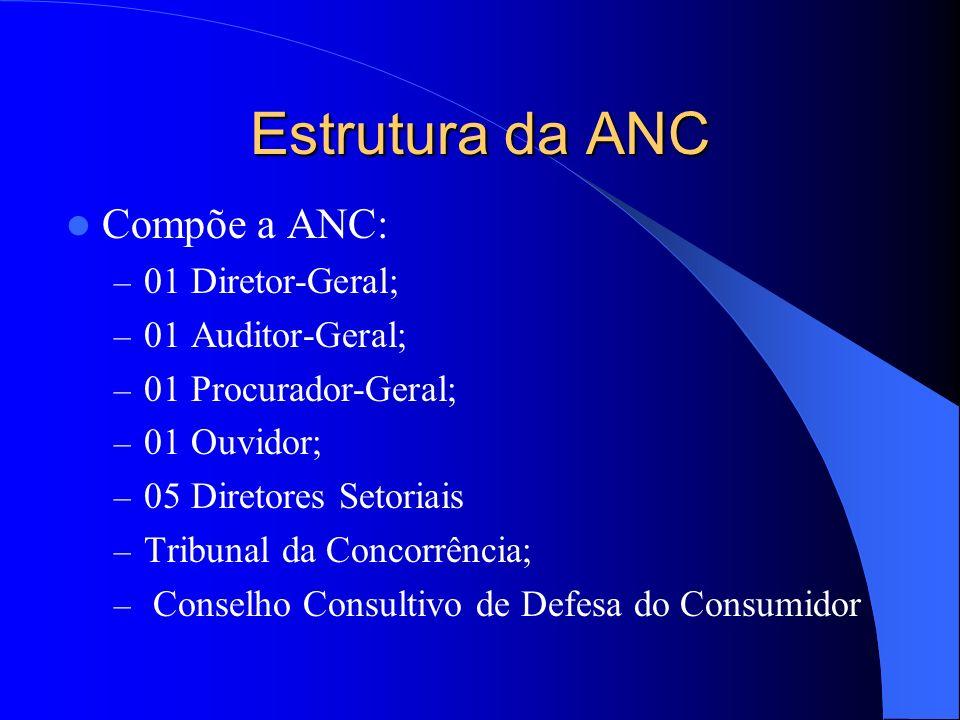 Estrutura da ANC Compõe a ANC: – 01 Diretor-Geral; – 01 Auditor-Geral; – 01 Procurador-Geral; – 01 Ouvidor; – 05 Diretores Setoriais – Tribunal da Con