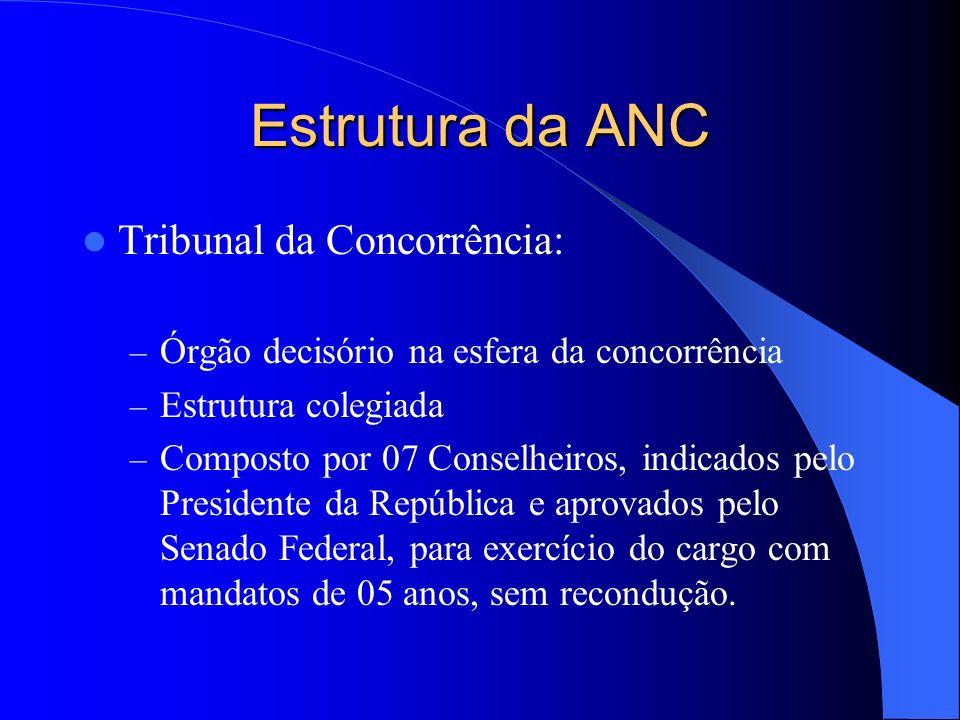 Estrutura da ANC Tribunal da Concorrência: – Órgão decisório na esfera da concorrência – Estrutura colegiada – Composto por 07 Conselheiros, indicados