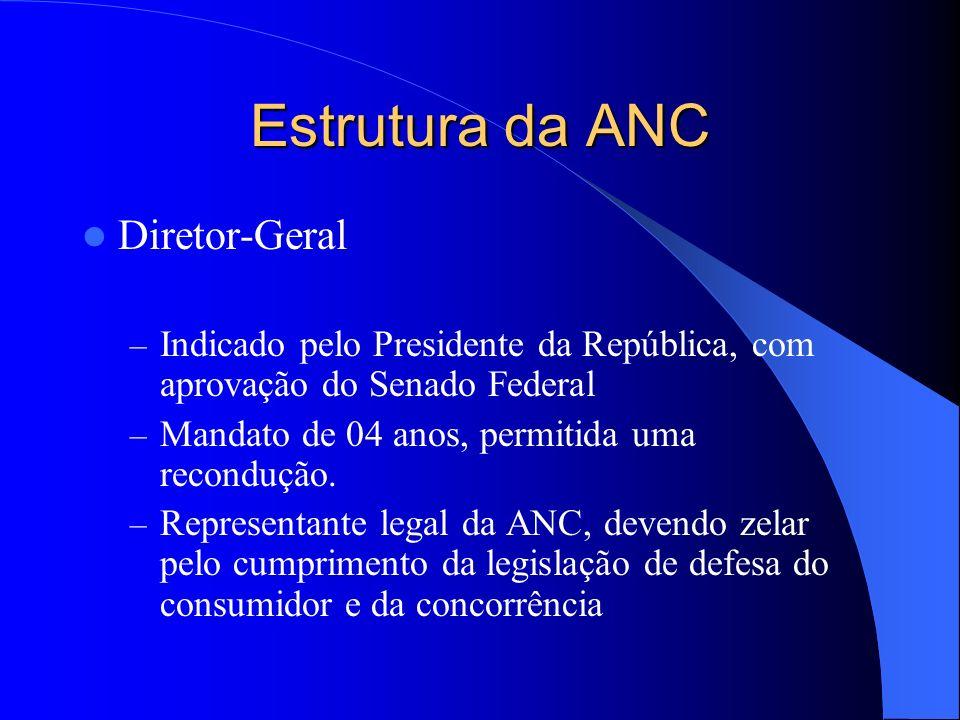 Estrutura da ANC Diretor-Geral – Indicado pelo Presidente da República, com aprovação do Senado Federal – Mandato de 04 anos, permitida uma recondução