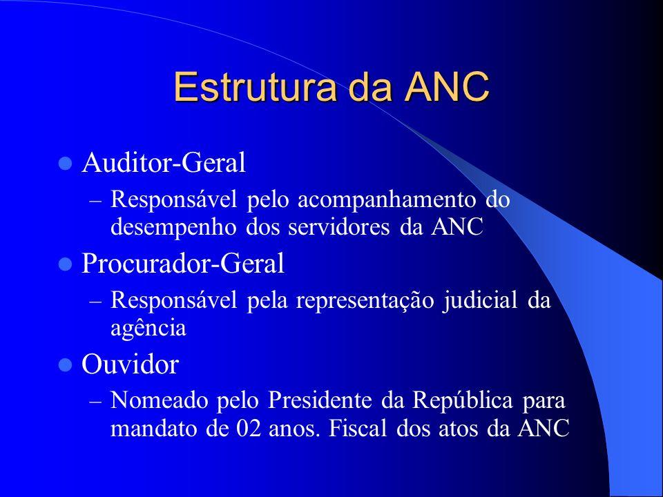 Estrutura da ANC Auditor-Geral – Responsável pelo acompanhamento do desempenho dos servidores da ANC Procurador-Geral – Responsável pela representação