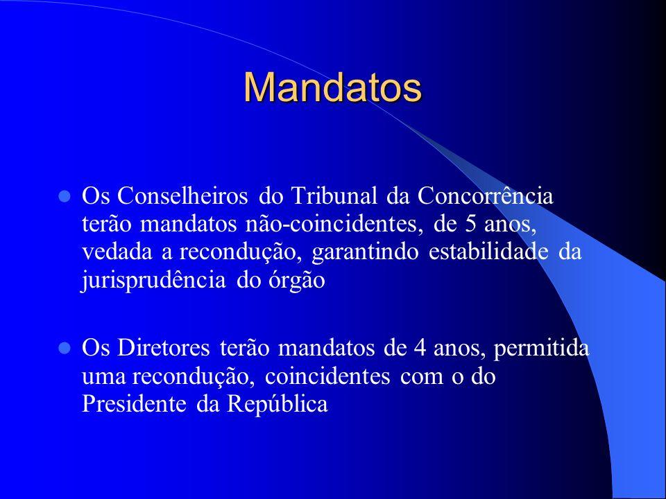 Mandatos Os Conselheiros do Tribunal da Concorrência terão mandatos não-coincidentes, de 5 anos, vedada a recondução, garantindo estabilidade da juris