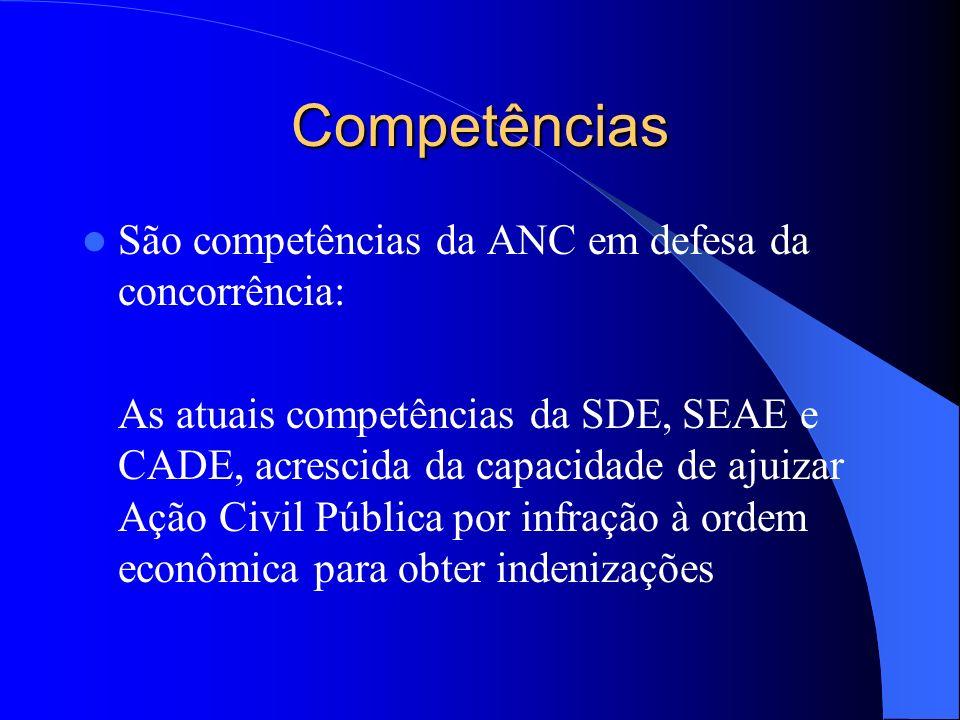 Competências São competências da ANC em defesa da concorrência: As atuais competências da SDE, SEAE e CADE, acrescida da capacidade de ajuizar Ação Ci