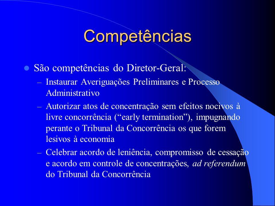 Competências São competências do Diretor-Geral: – Instaurar Averiguações Preliminares e Processo Administrativo – Autorizar atos de concentração sem e