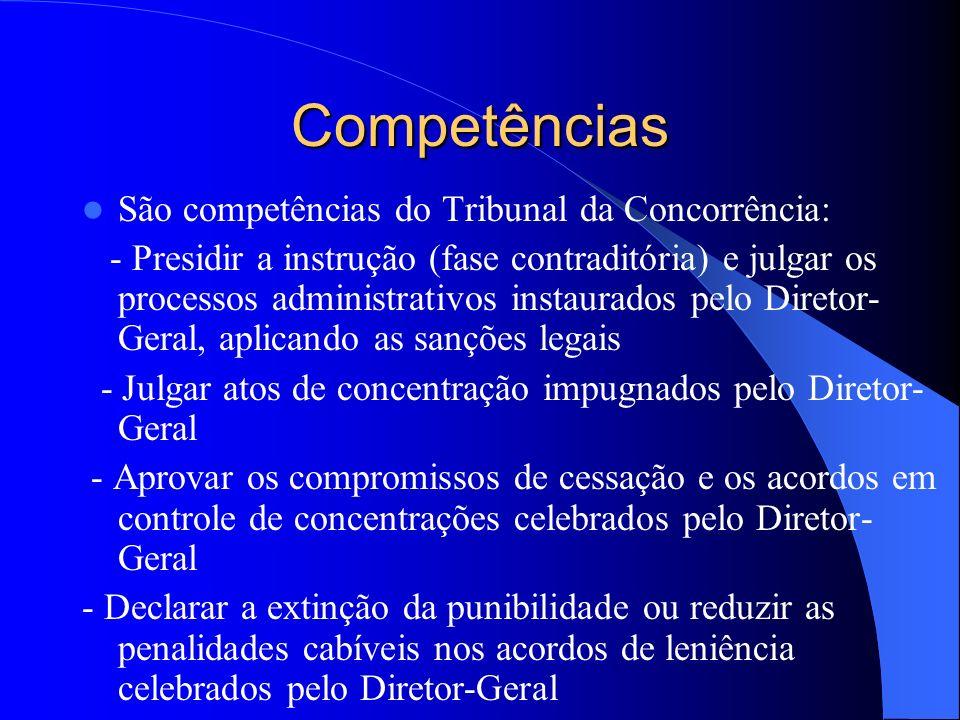 Competências São competências do Tribunal da Concorrência: - Presidir a instrução (fase contraditória) e julgar os processos administrativos instaurad