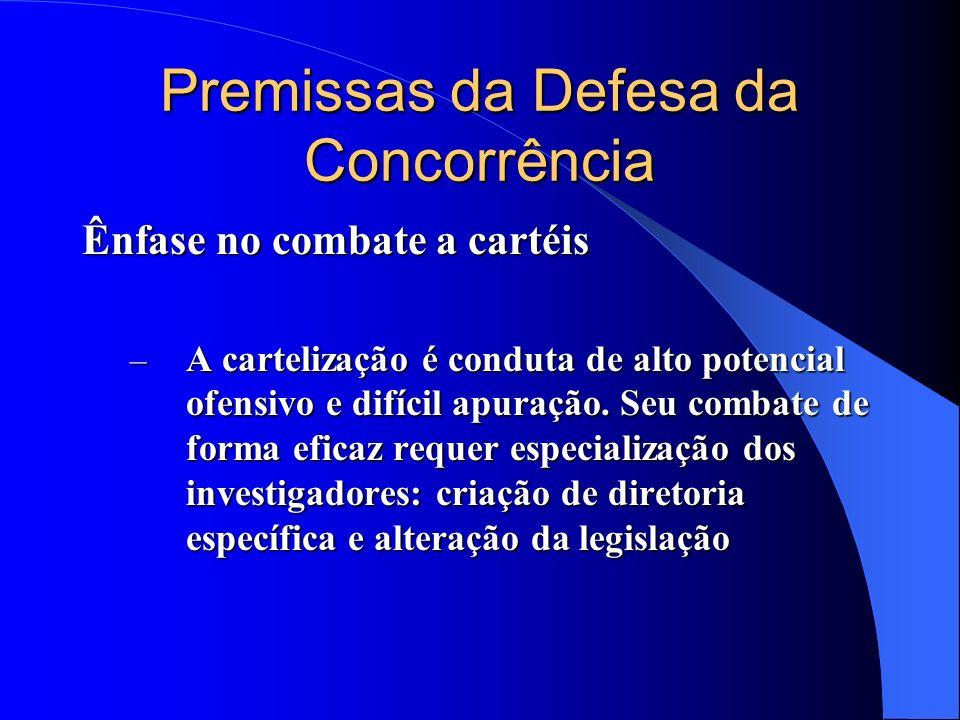 Premissas da Defesa da Concorrência Ênfase no combate a cartéis – A cartelização é conduta de alto potencial ofensivo e difícil apuração. Seu combate