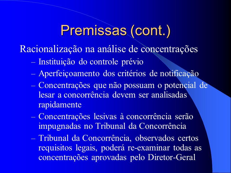 Premissas (cont.) Racionalização na análise de concentrações – Instituição do controle prévio – Aperfeiçoamento dos critérios de notificação – Concent