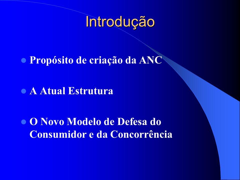Introdução Propósito de criação da ANC A Atual Estrutura O Novo Modelo de Defesa do Consumidor e da Concorrência