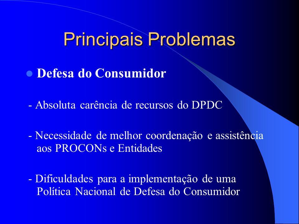 Principais Problemas Defesa do Consumidor - Absoluta carência de recursos do DPDC - Necessidade de melhor coordenação e assistência aos PROCONs e Enti