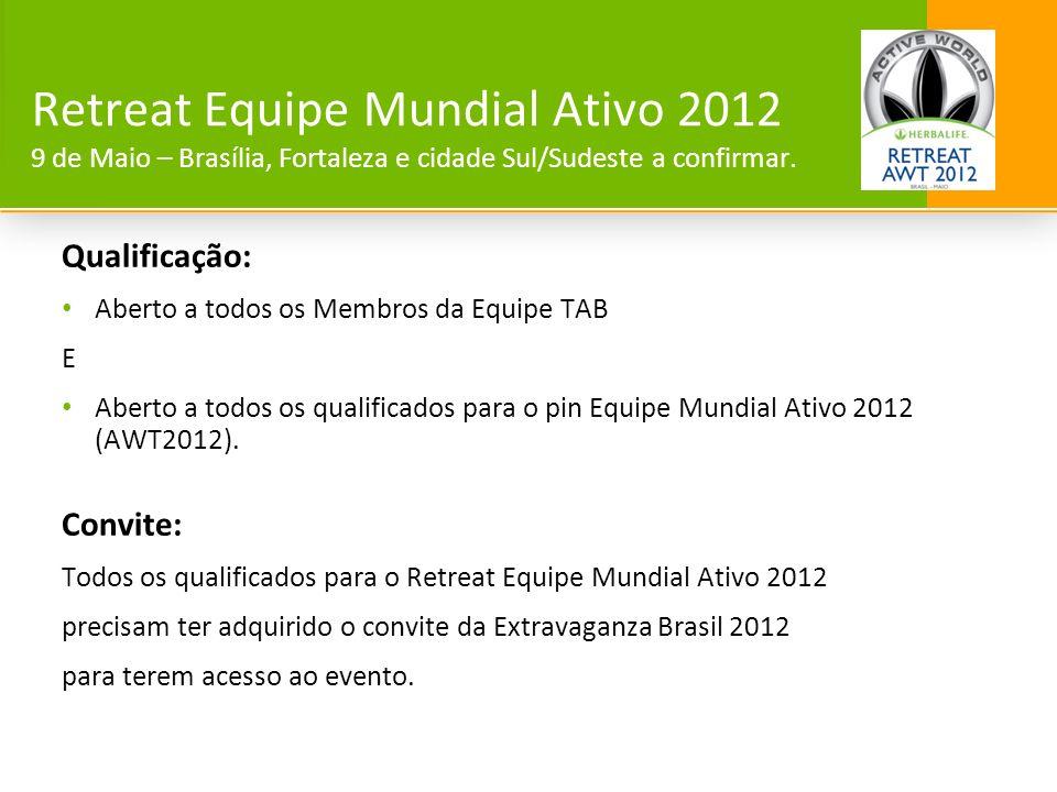 Qualificação: Aberto a todos os Membros da Equipe TAB E Aberto a todos os qualificados para o pin Equipe Mundial Ativo 2012 (AWT2012). Convite: Todos