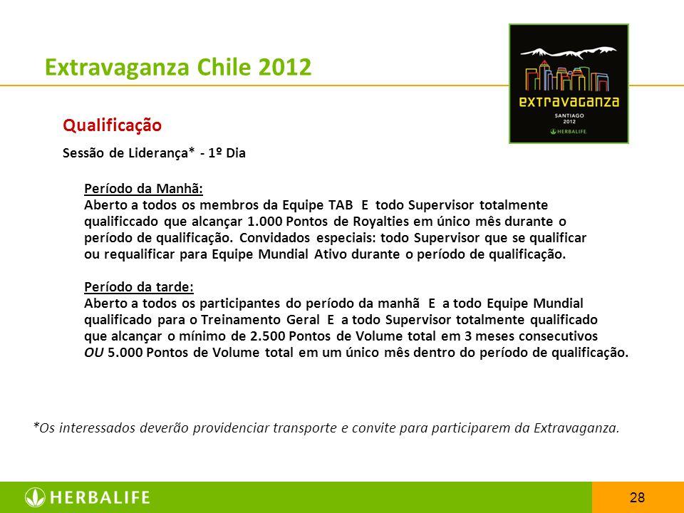 28 Extravaganza Chile 2012 Qualificação Sessão de Liderança* - 1º Dia Período da Manhã: Aberto a todos os membros da Equipe TAB E todo Supervisor tota