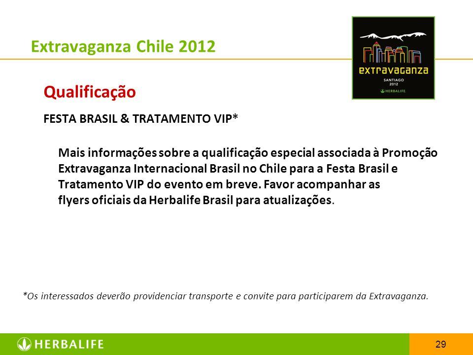 29 Extravaganza Chile 2012 Qualificação FESTA BRASIL & TRATAMENTO VIP* Mais informações sobre a qualificação especial associada à Promoção Extravaganz