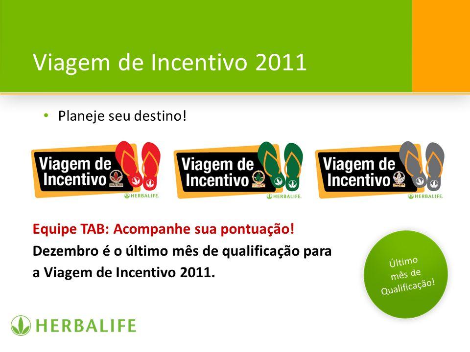 Viagem de Incentivo 2011 Planeje seu destino! Último mês de Qualificação! Equipe TAB: Acompanhe sua pontuação! Dezembro é o último mês de qualificação